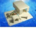 Розетка телефонная внешняя / 1 порт RJ-11/ 4 контактная, белая, блистер