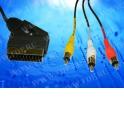 Шнур аудио-видео: SCART (21 pin)-3RCA ( длина 1.5 м, сборный) с переключателем направления сигнала Cabletech