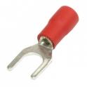 Вилочный кабельный  наконечник SVS 1,25-4 (НВИ d=4,3мм) 0,5-1,5мм,  изолированный, красный , 100шт.