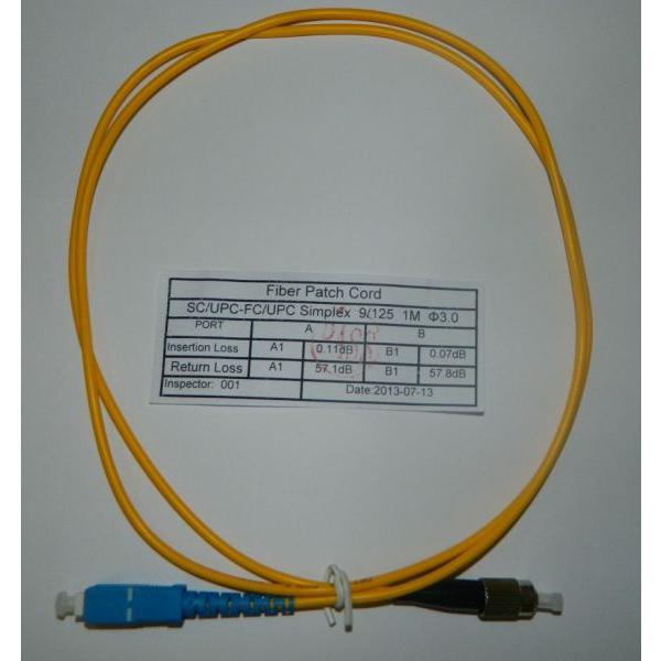 Патч-корд SC-FC/UPC SM Simplex 3.0мм 9/125, 1м. Патч корды опти