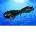 Шнур сетевой с вилкой (без разъема), 2*0,5мм2, 220V/2,5A, 3 м, черный