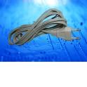 Шнур сетевой с вилкой (без разъема), 2*0,5мм2, 220V/2,5A, 3 м, белый