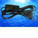 Шнур сетевой с выключателем и вилкой (без разъема) (шнур для бра), 2*0,5мм2, 220V/2,5A, 1,8 м, черный